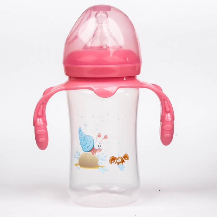 Бутылочка для кормления с ручками, 300 мл, от 0 мес., цвет розовый, рисунок МИКС