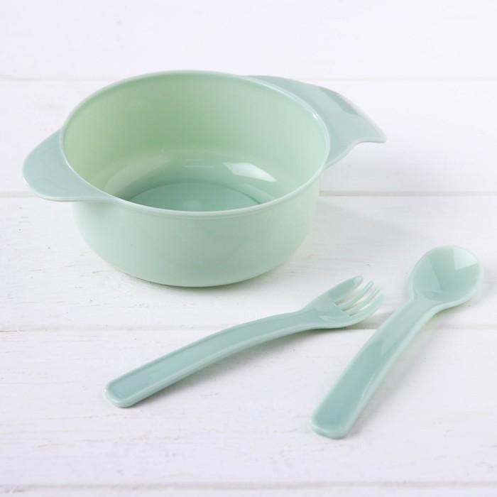 Набор детской посуды, 3 предмета: миска 300 мл, ложка, вилка, от 5 мес., цвет зелёный