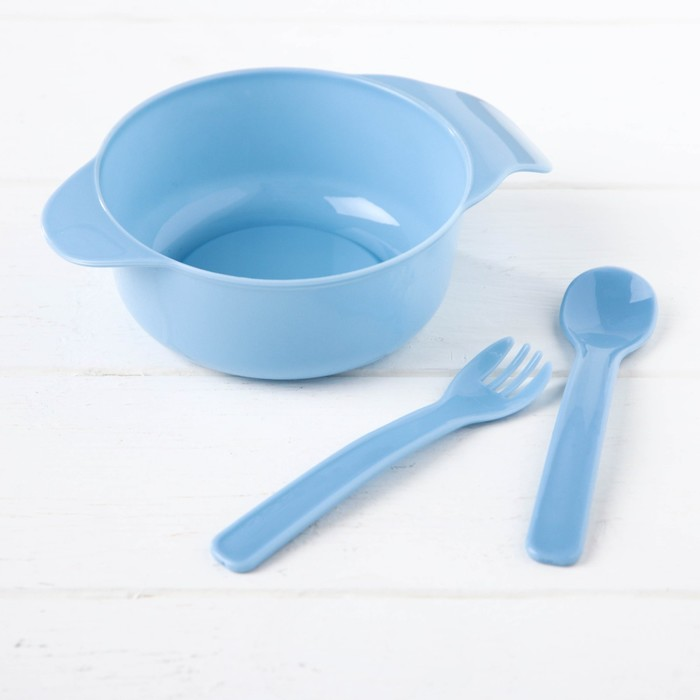 Набор детской посуды, 3 предмета: миска 300 мл, ложка, вилка, от 5 мес., цвет голубой