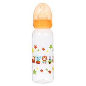 Бутылочка для кормления, 250 мл, от 0 мес., цвет оранжевый, рисунок МИКС