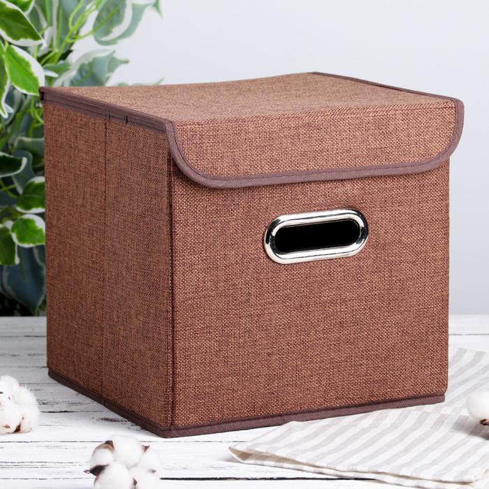 """Короб для хранения с крышкой 25×25×25 см """"Офис"""", цвет коричневый"""
