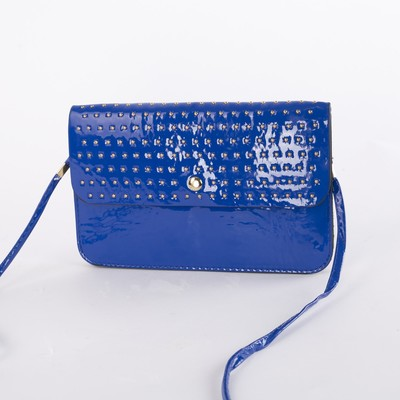 Bag, 3 sections on the flap, long strap, color blue