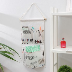 Organizer with pockets hanging 25×48 cm, 3 offices, design MIX