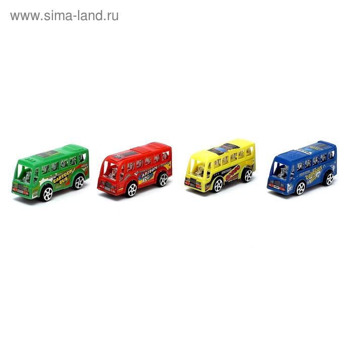 """Автобус инерционный"""" Мини город"""", набор 4 шт, цвета МИКС"""