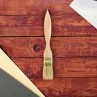 Кисть плоская, тонкая, деревянная ручка, 30 х 8 мм
