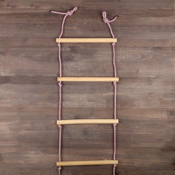 Лестница веревочная деревянная, неокрашенная, 2 м, цвет веревок микс