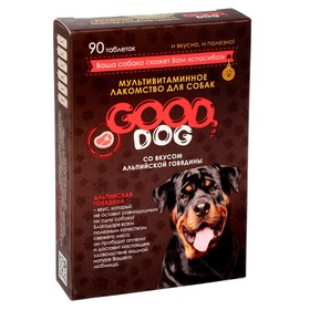 """Мультивитаминное лакомство GOOD DOG для собак, """"Альпийская говядина"""", 90 таб"""