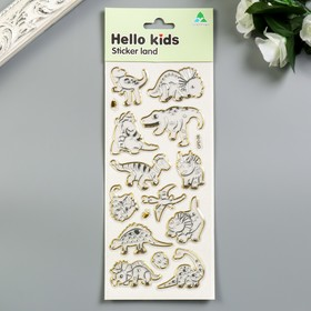 "Sticker plastic with Golden stroke ""Dinosaurs"" MIX 29,5x11 cm"
