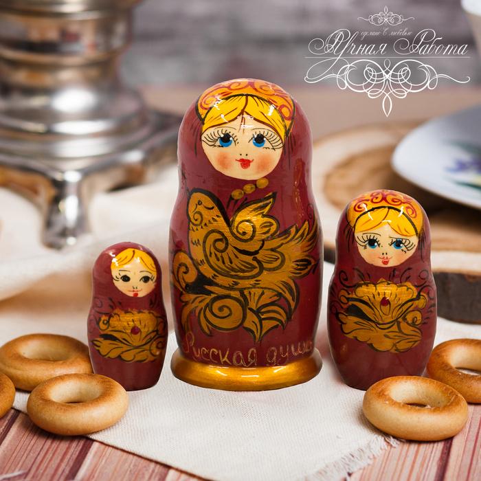 "Матрёшка 3-х кукольная ""Хохлома с птицей"""