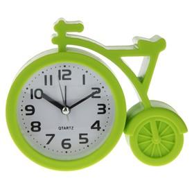 """Будильник """"Велосипед"""", дискретный ход, 11 х 13 см, d=7 см, зеленый"""
