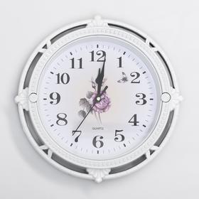 Часы настенные с розой круг. белые рама под металл с цветами 27*27см Ош