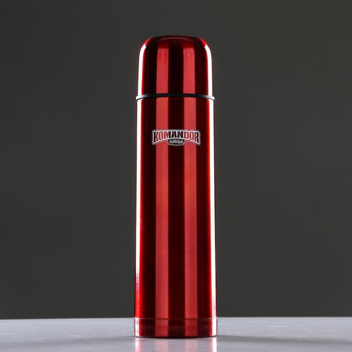 """Термос вакуумный """"Командор"""", 750 мл, бытовой, сохраняет тепло 24 ч, красный, 8х29 см"""