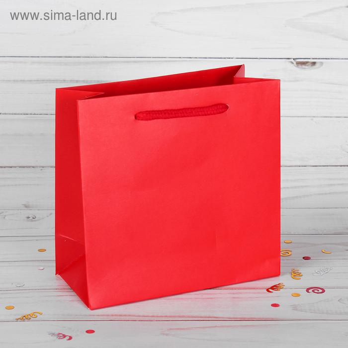 Пакет подарочный, красный, люкс, 15 х 7 х 14,5 см