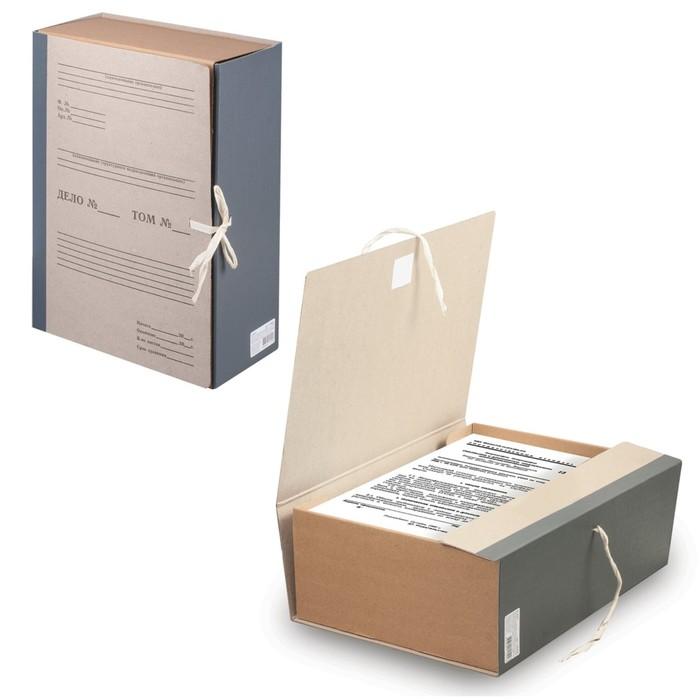 Короб архивный А4, 120 мм STAFF, переплетный картон, корешок-бумвинил, 2 х/б завязки, до 1000 листов