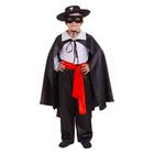 """Карнавальный костюм """"Зорро"""", шляпа, маска, белая рубашка, плащ, пояс, штаны, р-р 28, рост 98-104 см"""