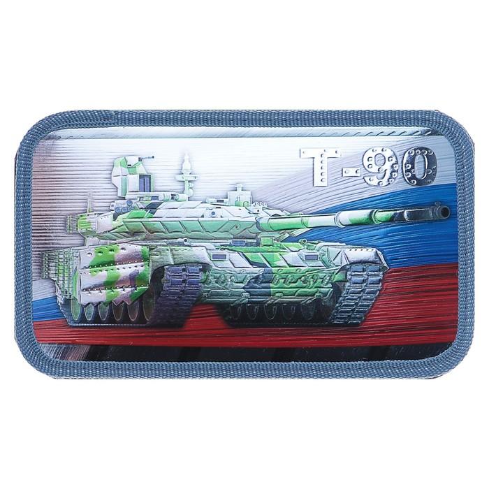 Пенал 3 секции «Танк Россия», 120 х 205 мм, эффект металлик, 3D объёмный рисунок
