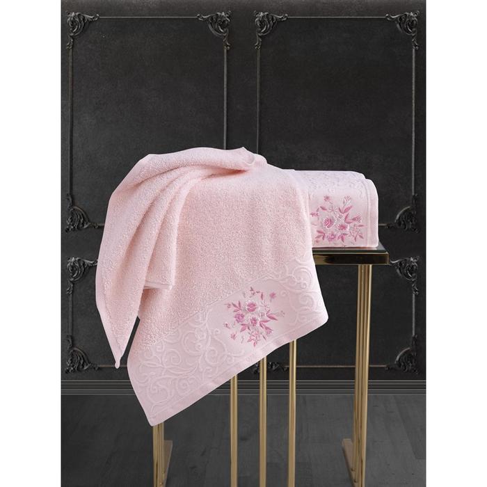 Комплект махровых полотенец Viola, 50 х 90 см - 1 шт, 70 х 140 см - 1 шт, цвет светло-розовый - фото 7929567