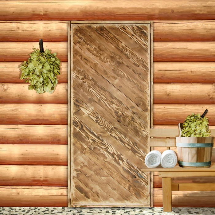 """Дверь для бани """"Диагональ"""", брашированная, обожжённая, 180х80см"""