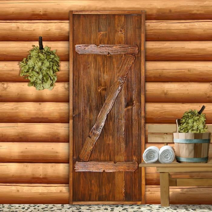 """Дверь для бани """"Классика с накладками"""", 160×70см, брашированная, морёная, лакированная"""