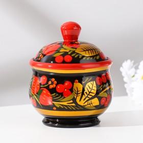 """Salt shaker """"Berry"""", with lid, large, 11×8 cm, Khokhloma"""