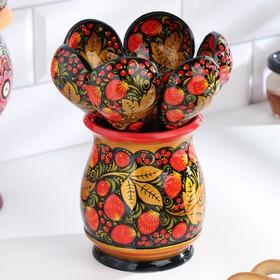 "A set of ""hostess"", 6 spoons and vase, 13×9 cm, Khokhloma"