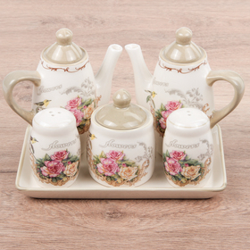 "Set for spices on the stand ""Nightingale"", 5 items: salt/pepper shakers 50 ml, 120 ml sugar bowl, container for sauces 250 ml"