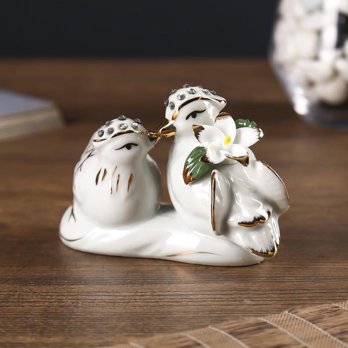 "Нэцкэ керамика ""Уточки-мандаринки"" стразы 7х11х5,7 см - фото 797871893"