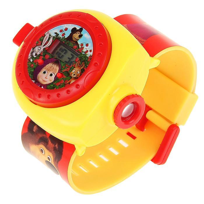 """Часы детские """"Маша и Медведь"""" с проекцией на карт. МИКС"""