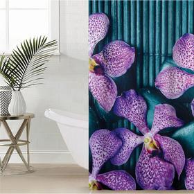 """Штора для ванной 180×180 см """"Камни и цветы"""", полиэстер"""