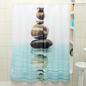Штора для ванной комнаты Доляна «Камни на воде», 180×180 см, полиэстер