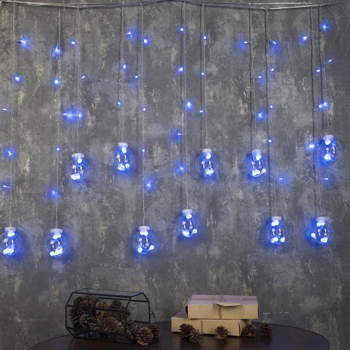 """БАХРОМА, Ш:2.4 м, В:0.7 м, Н.С. """"ШАРИКИ"""", LED-108-220V, 8 режимов, СИНИЙ"""