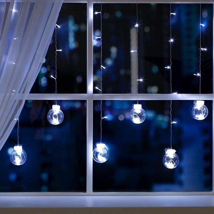 """Гирлянда """"Бахрома"""" 2.4 х 0.7 м с насадками """"Шарики"""", IP20, прозрачная нить, 108 LED, свечение белое, 8 режимов, 220 В"""