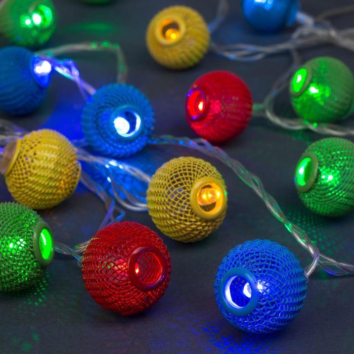 """Гирлянда """"Нить"""" 4 м с насадками """"Шарик плетёный"""", IP20, прозрачная нить, 20 LED, свечение мульти, 8 режимов, 220 В"""