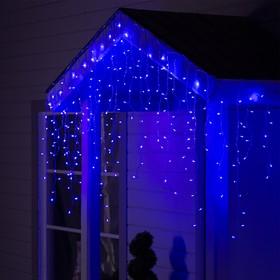 "Гирлянда ""Бахрома"" 3 х 0.9 м , IP44, УМС, прозрачная нить, 232 LED, свечение синее, 220 В"