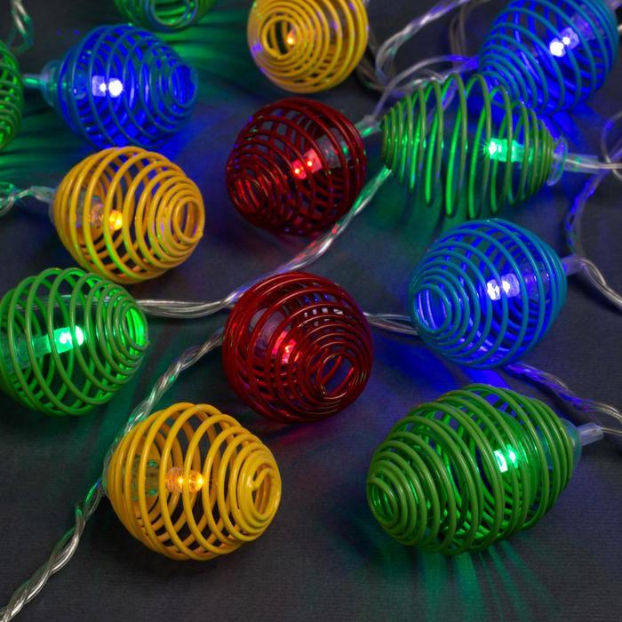 """Гирлянда """"Нить"""" 4 м с насадками """"Пружинка шарик"""", IP20, прозрачная нить, 20 LED, свечение мульти, 8 режимов, 220 В"""