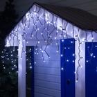 """Гирлянда """"Бахрома"""" уличная, УМС, 3 х 0.6 м, 2W Каучук LED(IP65)-160-220V, нить тёмная, свечение белое"""
