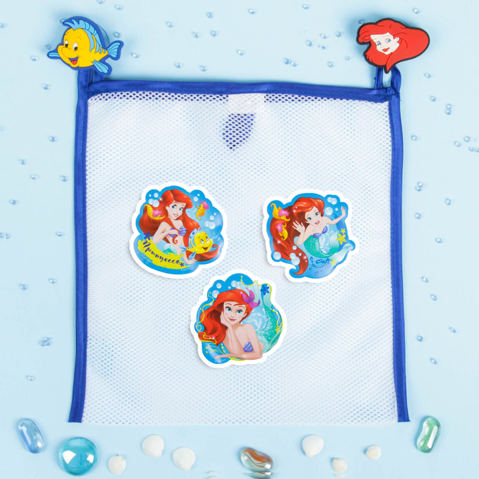 """Сетка для хранения игрушек """"Русалочка"""" Принцессы: Ариель +набор объемных наклеек - фото 105494260"""