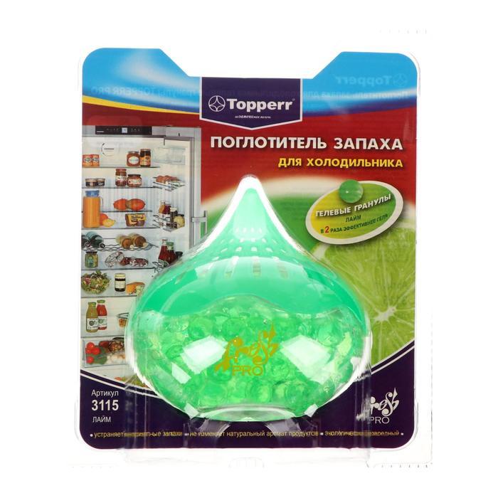 Поглотитель запаха Topperr для холодильника гелевый Лайм, 1шт