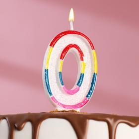 """Свеча восковая для торта с блестками """"Блестящий ободок"""" цифра 0"""