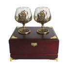 Набор из двух бокалов для коньяка «Россия» в деревянной шкатулке
