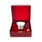 Чашка фарфоровая с цветками из латуни «Незабудки» в шкатулке