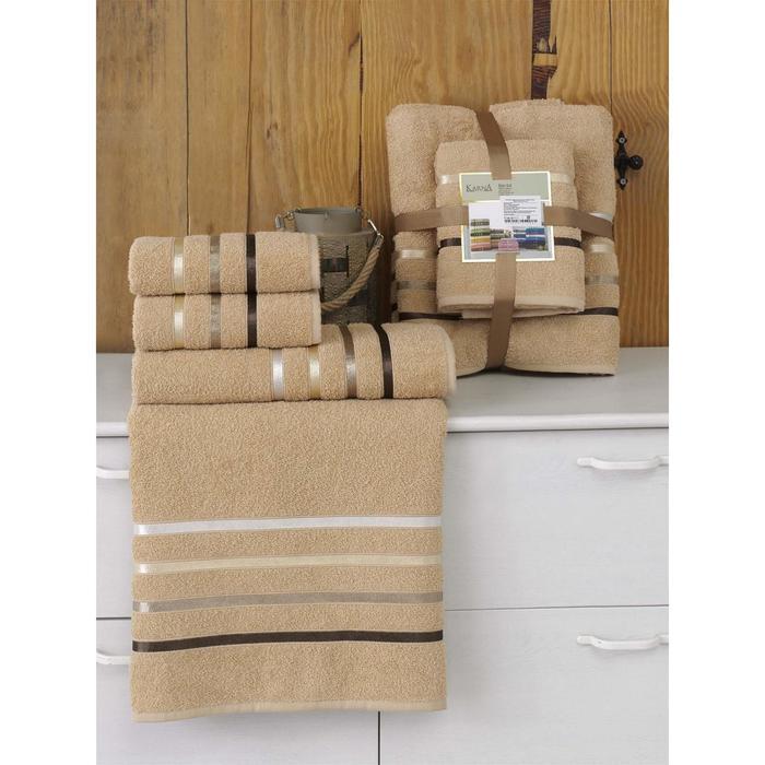 Комплект махровых полотенец Bale, 50 х 80 см - 2 шт, 70 х 140 см - 2 шт, горчичный - фото 7929587