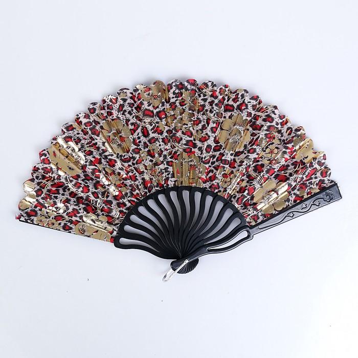"Веер пластик изгиб ""Цветы на леопарде"" золото МИКС 23 см"