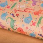 """Бумага упаковочная крафт """"Зверята на рисунке"""", 50 х 70 см"""