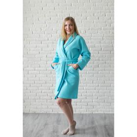 Халат женский, шалька+кант, размер 44, цвет бирюзовый, вафля