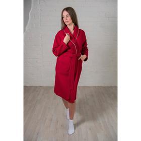 Халат женский, шалька+кант, размер 44, цвет бордовый, вафля
