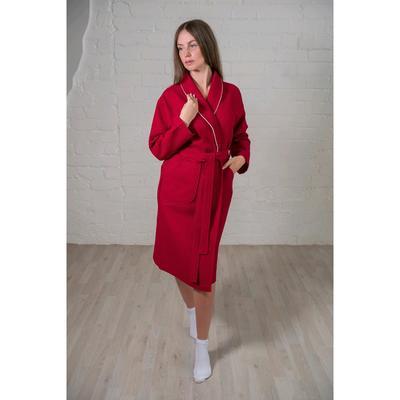 Халат женский, шалька+кант, размер 52, бордовый, вафля