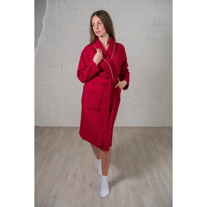 Халат женский, шалька+кант, размер 54, бордовый, вафля
