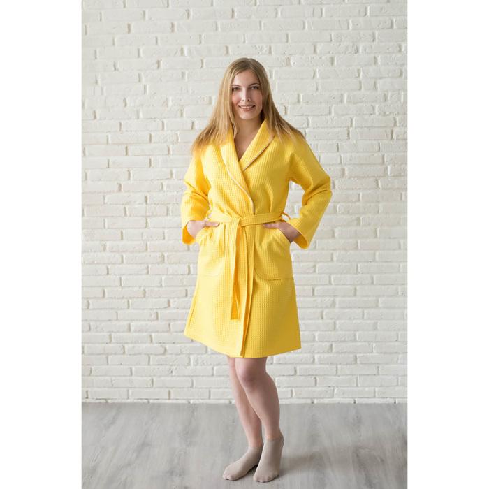 Халат женский, шалька+кант, размер 48, лимонный, вафля