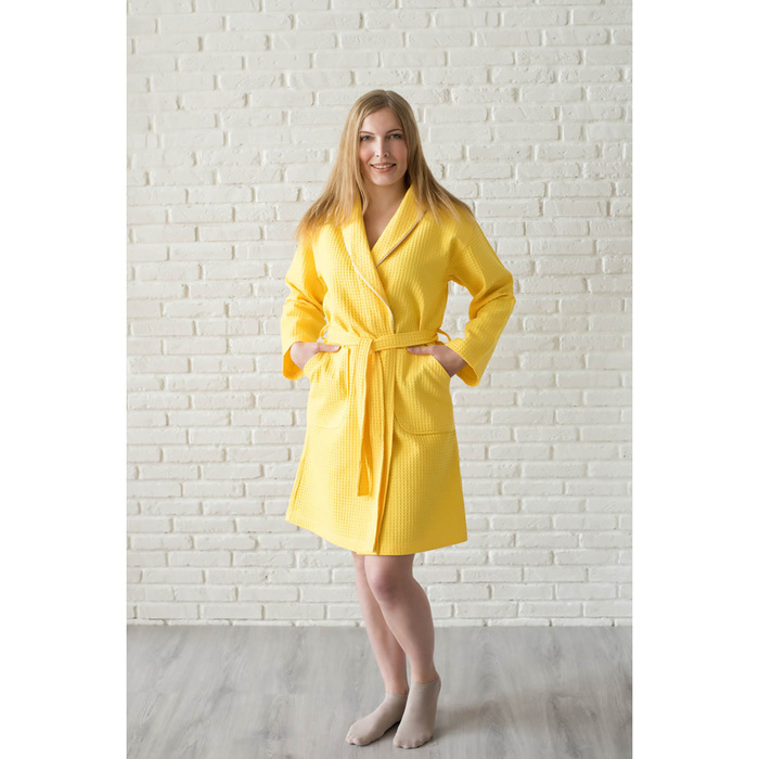 Халат женский, шалька+кант, размер 50, лимонный, вафля